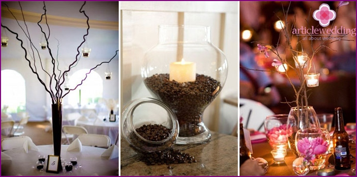 Decorating wedding tables in the coffee style