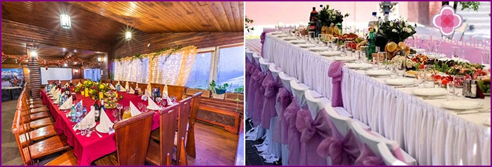 The small wedding in the restaurant