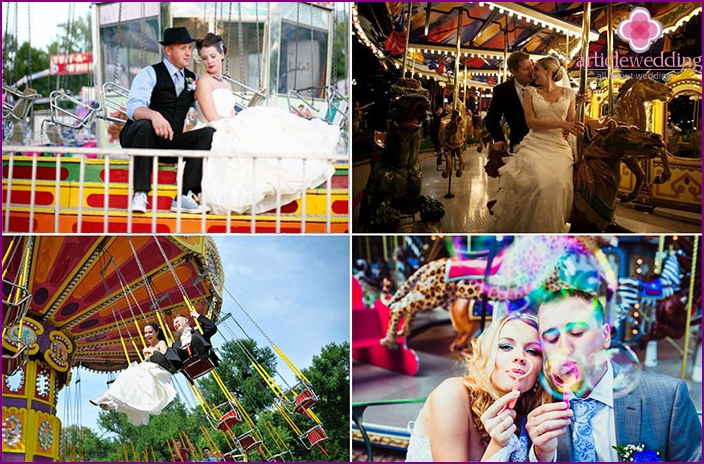 Wedding shooting in an amusement park