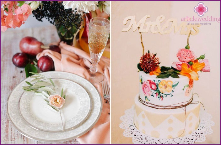 The elements of the wedding décor: flowers
