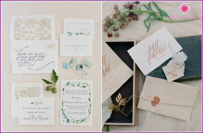 Calligraphic elements wedding printing