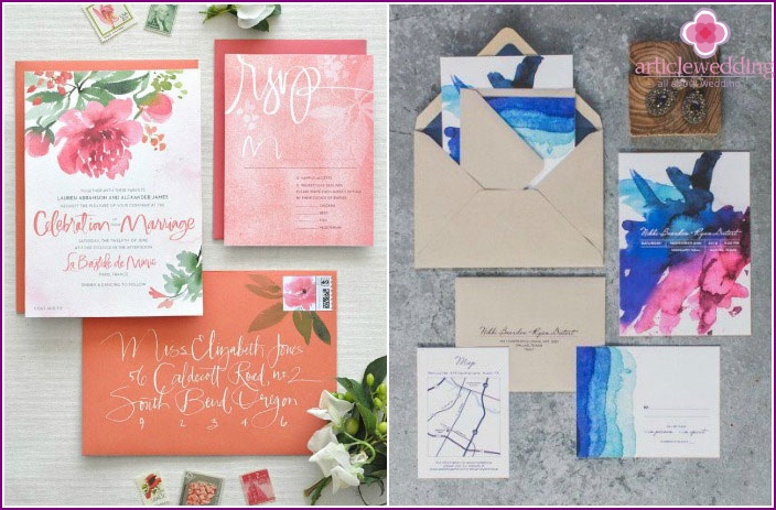 Watercolor wedding printing