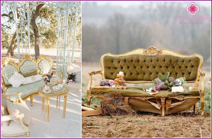 Vintage furniture for the wedding day