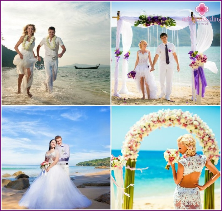 The wedding ceremony in the middle of the island of Phuket in Thailand
