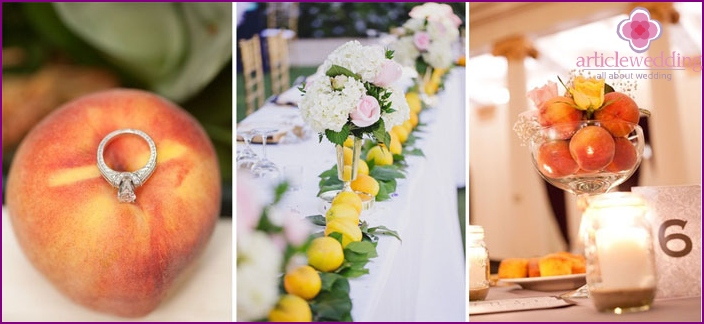 Decoration of wedding table fruit