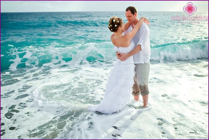 Wedding ceremony off the coast of the island of Cyprus