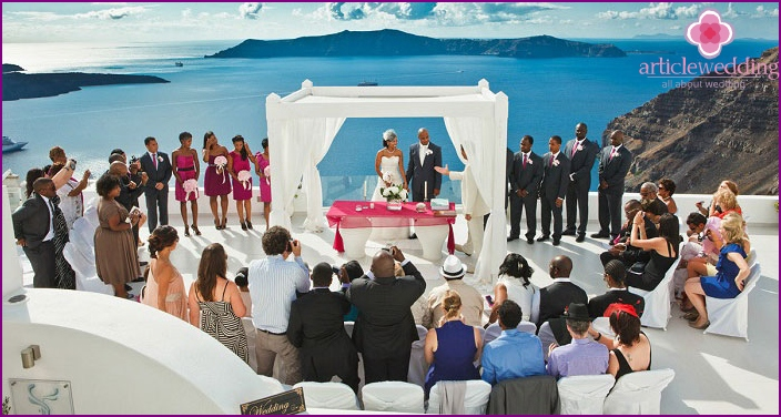 Wedding on island of Santorini in Greece