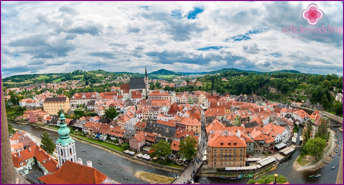 A wedding in the town of Krumlov in the Czech Republic