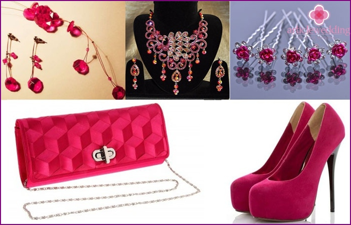 Optional accessories for the bride as well as on a crimson wedding