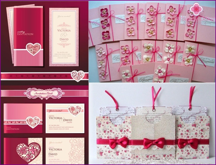 Invitation cards on a crimson wedding
