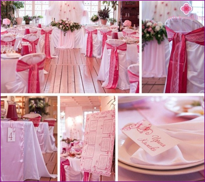 Wedding room decorated in crimson tones