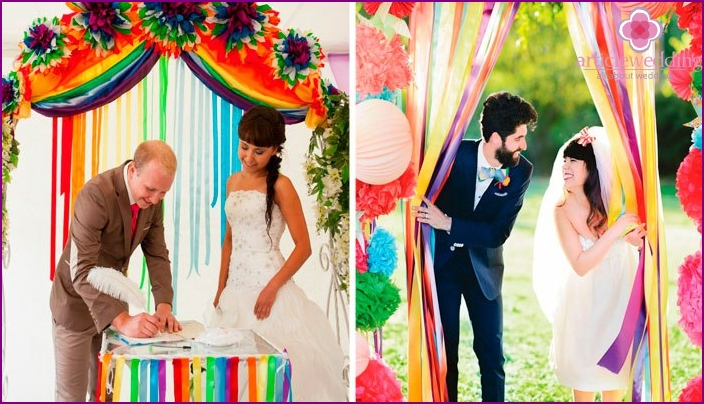 Colored wedding arch