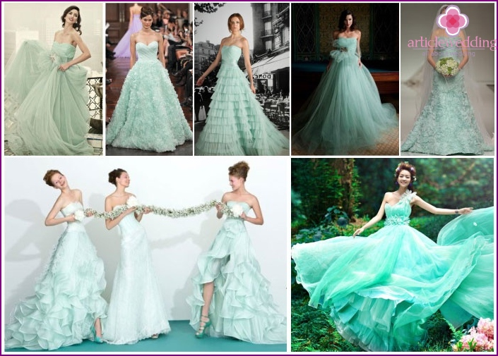 Bride mint-colored dress