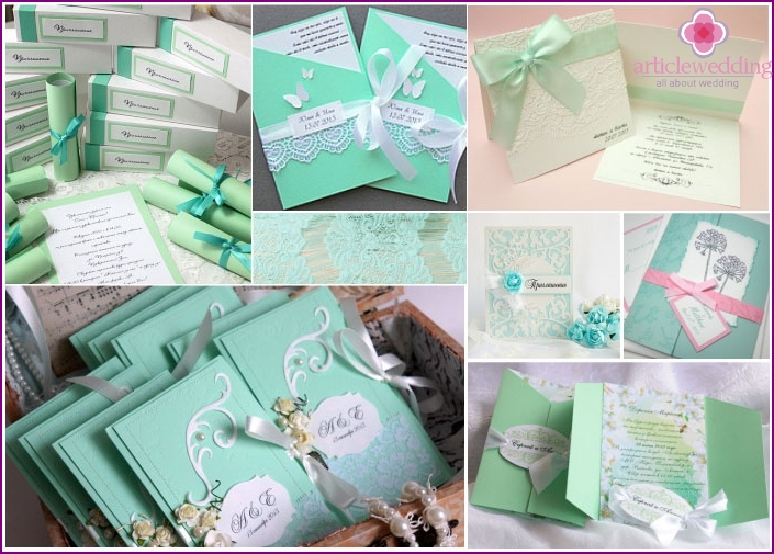 Invitations to wedding mint