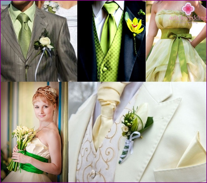 Light green dress newlyweds