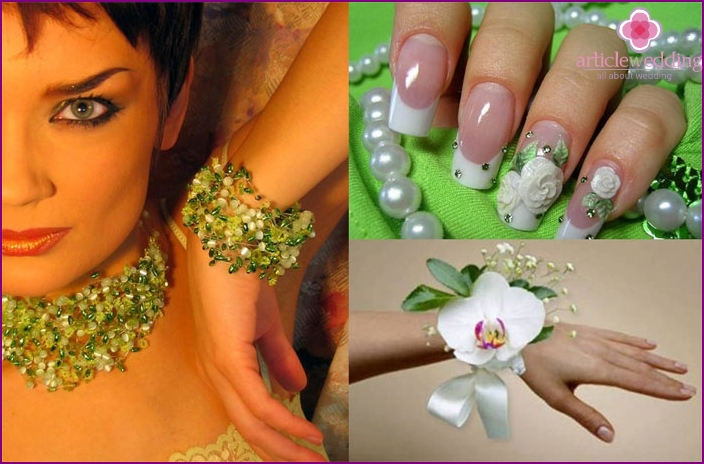 Wedding accessories in light green colors