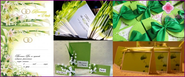 Invitation cards in light green colors