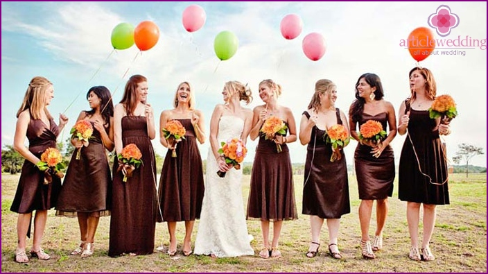 Dresses bridesmaids brown shade