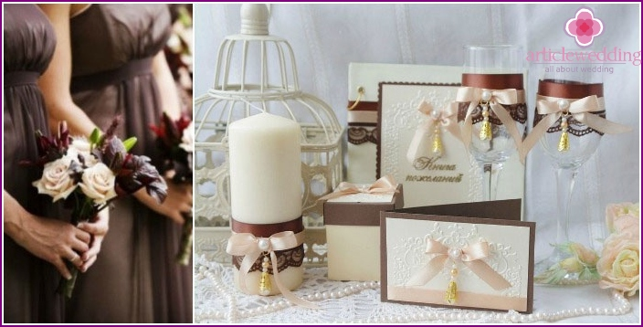 Brown accessories for decorating wedding