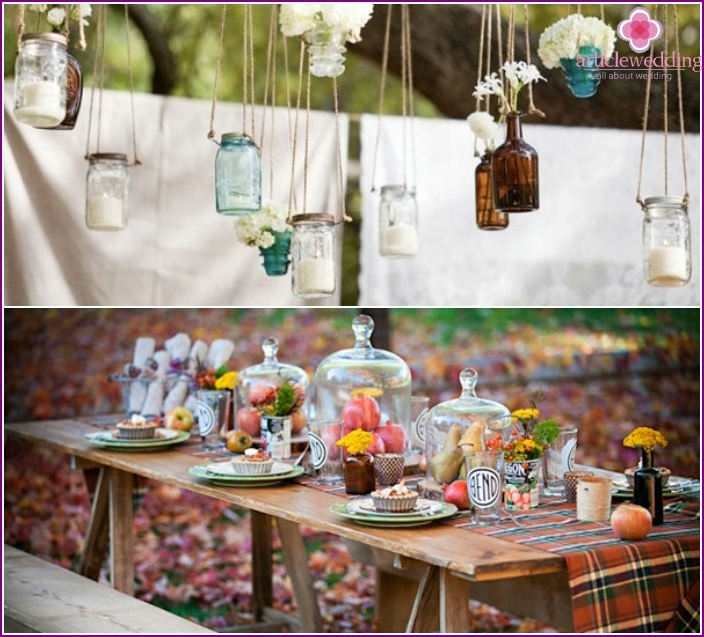 Brown accessories for decorating wedding banquet hall