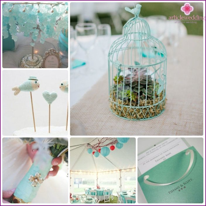 Decorations for the wedding in the heavenly color