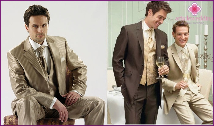 Wedding golden men's suit