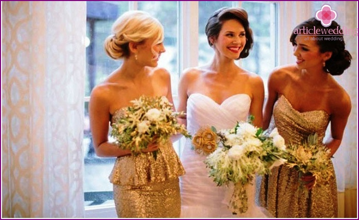 Golden bridesmaids dresses