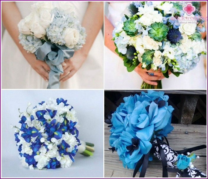 Bouquet blue shades for the bride