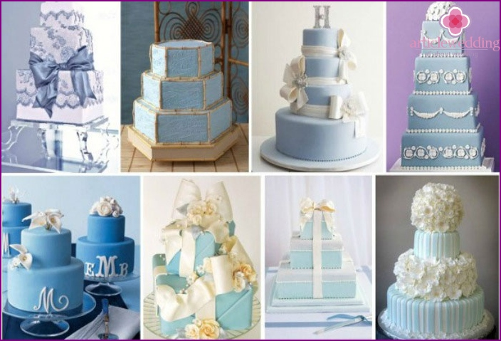 Birthday cake for a blue wedding