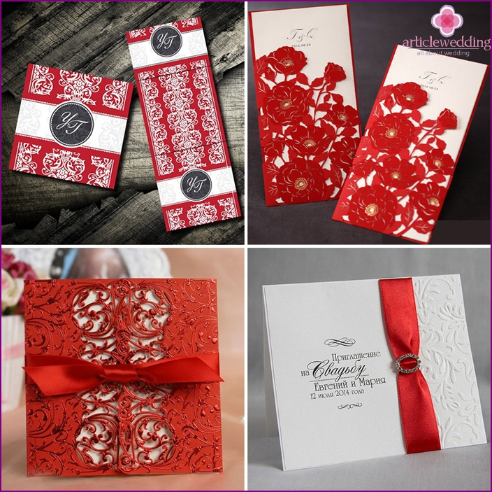 The white and red decor of wedding invitation cards
