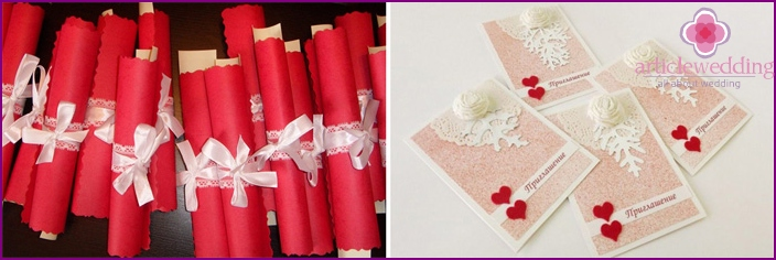 White-red invitation to the wedding