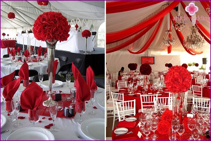 The white and red decor of the banquet hall