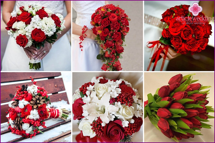 bridal bouquet with red and white flowers