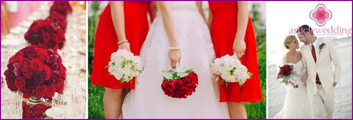Wedding in white and red accents