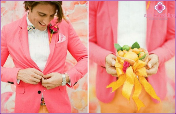 Coral groom suit