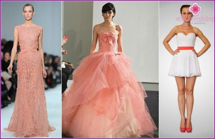 coral range Bride Wedding Dress