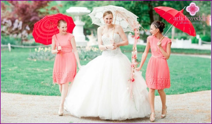 Dresses bridesmaids coral color