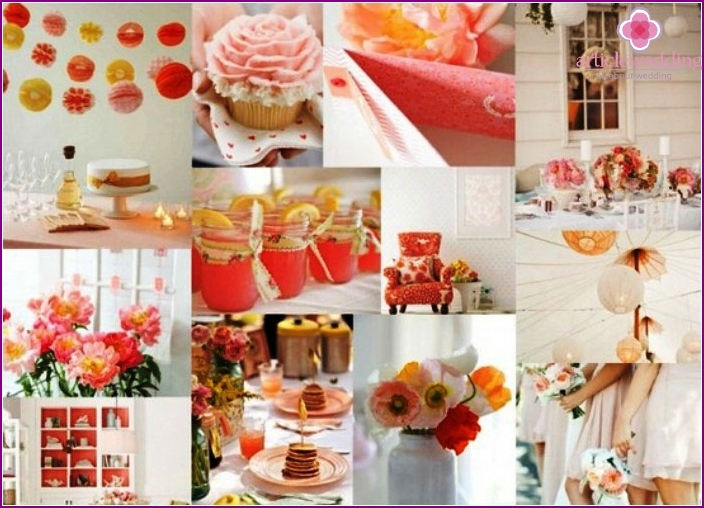 Elements coral wedding decor