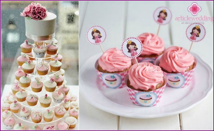 Cake cupcakes in pink tones