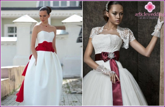 Wedding dress with burgundy accents