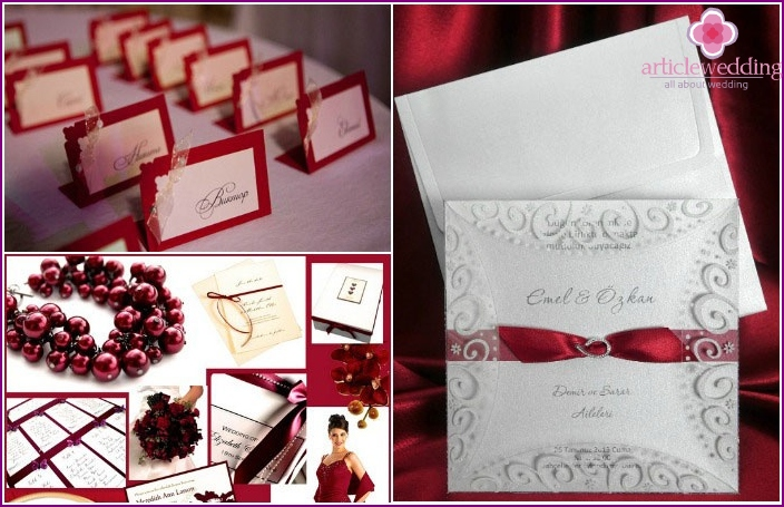 Invitations, nursery cards on maroon wedding