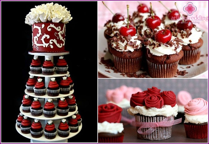 Cupcakes with aaktsentami burgundy color