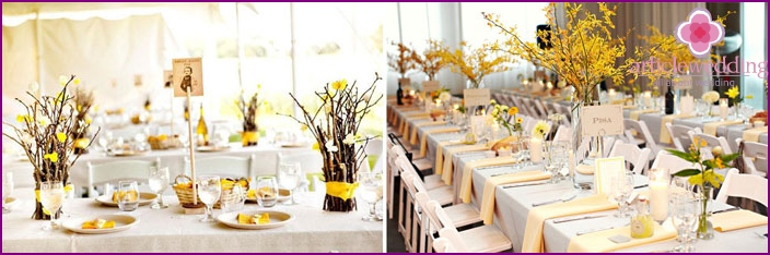 Making a banquet hall in honey-yellow colors