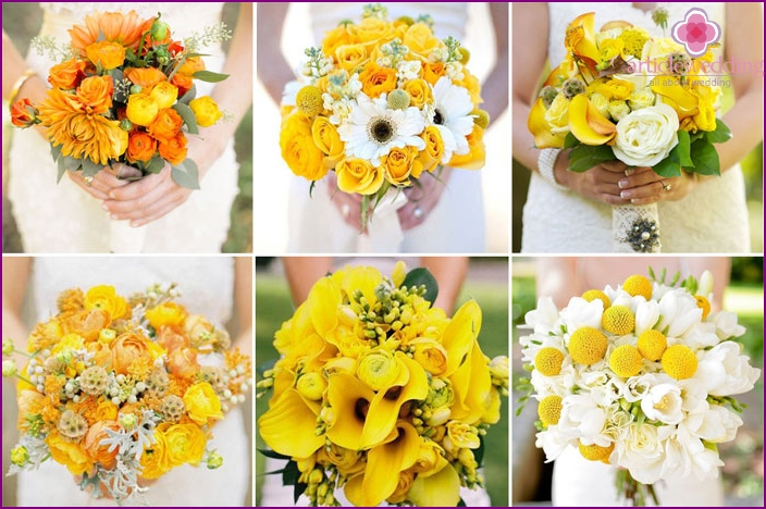 A variety of options are honey-yellow bride's bouquet