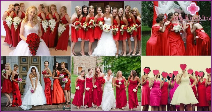 Red dress and accessories on a thematic wedding