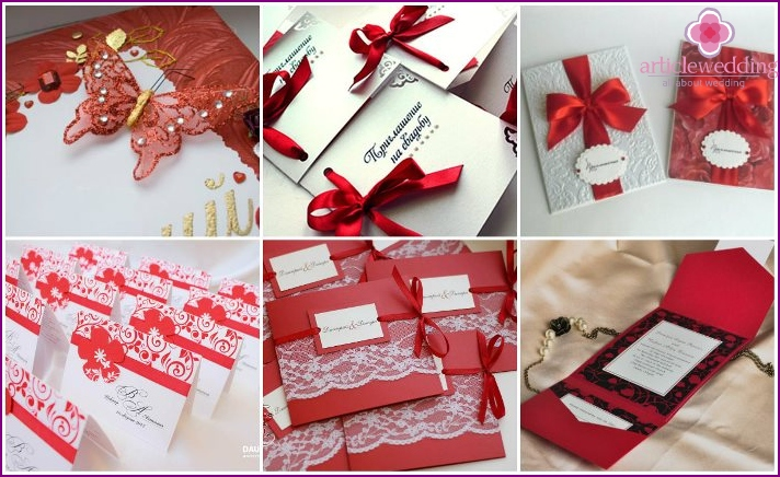Invitation cards on the red wedding