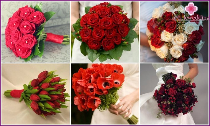 Wedding bridal bouquets in red style