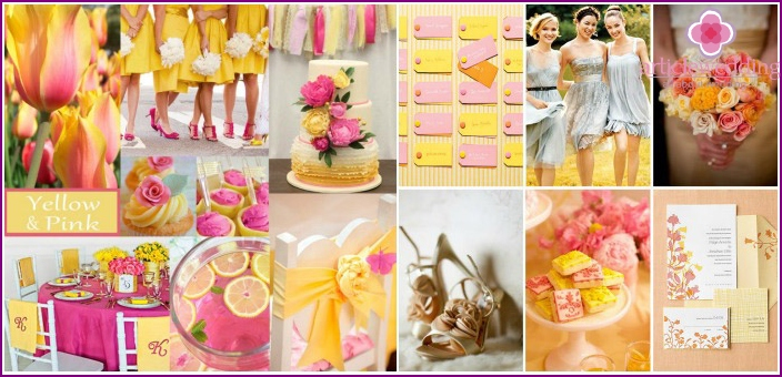 Yellow-pink range of wedding