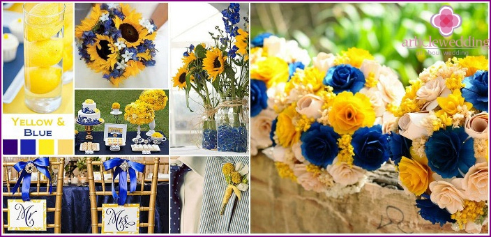 Wedding in yellow-blue colors