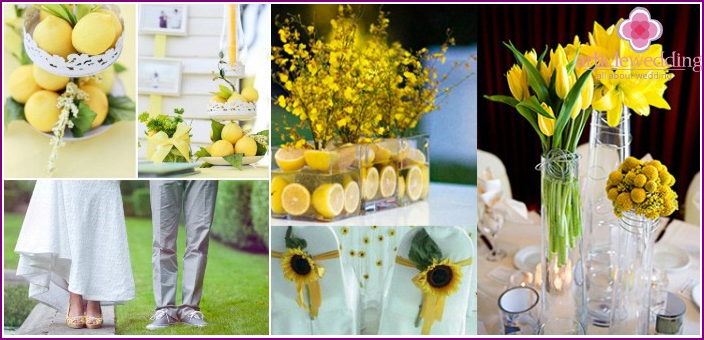 Wedding in the yellow-green hues